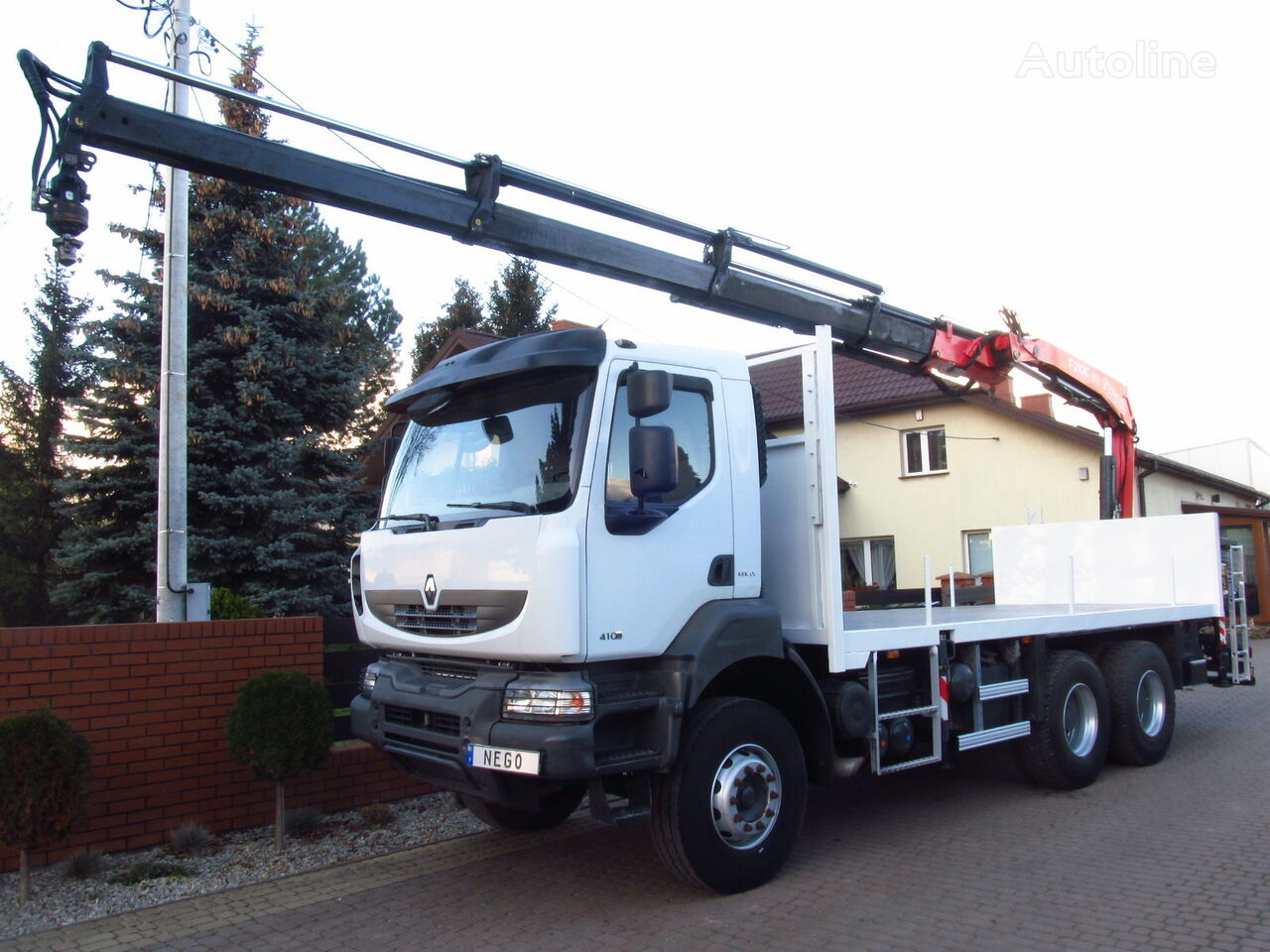 бортовой грузовик RENAULT KERAX 410.26 6X4 FASSI F210 2009