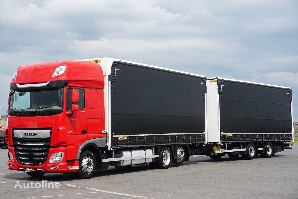 грузовик штора DAF 106 / 480 / SSC / ACC / EURO 6 / ZESTAW PRZEJAZDOWY 120 M3 + прицеп штора