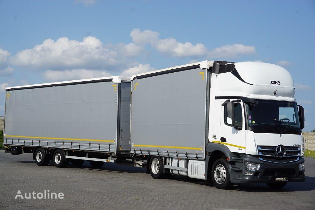 грузовик штора MERCEDES-BENZ ANTOS / 1840  / ACC / E 6 / ZESTAW  120 M3 / 39 PALET / ŁAD. 21 + прицеп штора