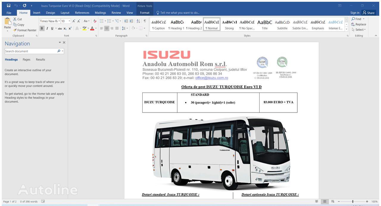 новый междугородний-пригородный автобус ISUZU TURQUOISE