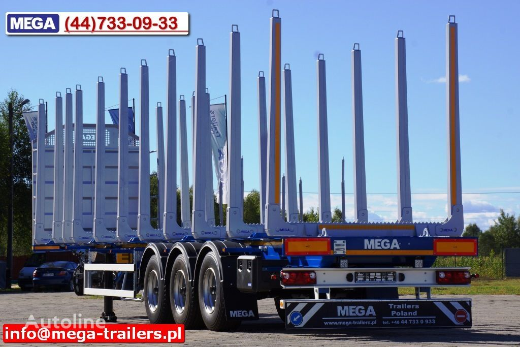 новый полуприцеп лесовоз MEGA 10 U STANCHION - TIMBER SEMI-TRAILER/HOLZAUFLIEGER- READY ! BERE