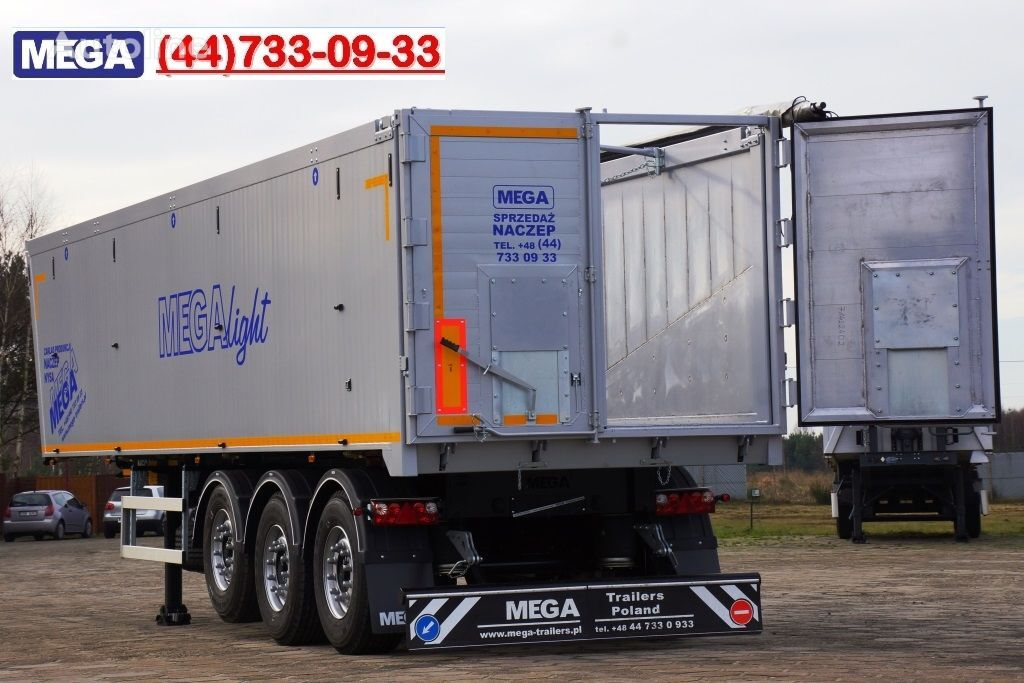 новый полуприцеп самосвал MEGA 45 m³ - alum. tipper SUPER-LIGHT - 5,300 KG & hatch door - READY